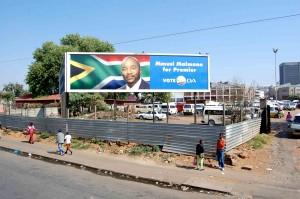 Johannesburg. Manifesto elettorale in periferia